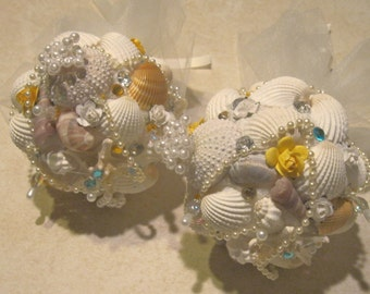 Seashell Bouquet -Posy Size -  Bridesmaids, Mother of the Bride or Groom- Sea Urchin, Starfish,Yellow & Blue Pearls and More