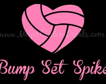 Volley Ball Heart Bump Set Spike Vinyl Decal Sticker YOU CHOOSE Color
