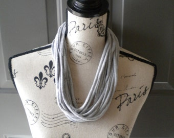 Jersey Scarf Necklace in Light Gray no.2