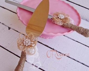 Cottage Chic Rustic Wedding Cake Server and Knife Set with Added Bling - Etching Available - Select Colors To Match Your Theme