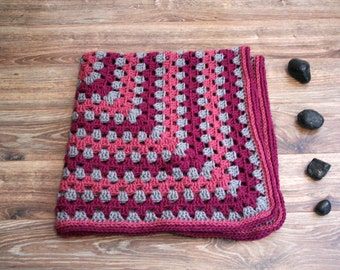 Modern Berry Baby blanket, Baby girl, Granny afghan, Fuschia, pink, and gray