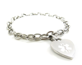 Engraved Medical Charm Bracelet, Steel O-Link Chain Hearts, White P5C-BS2