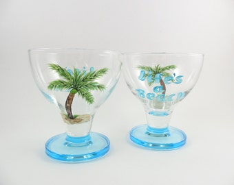 Dessert Ice Cream Bowls Hand Painted Aqua Blue Life's a Beach Palm Trees Beach Decor - Set of 2