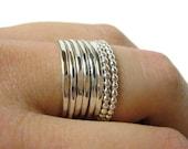 Stacking rings • Silver layering rings • Sterling silver stacking rings • Silver beaded ring • Stackable rings • Stacker rings