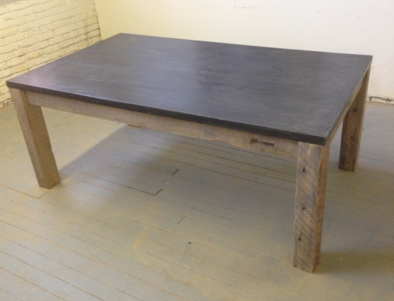 Items similar to concrete slab dining table reclaimed for Concrete kitchen table