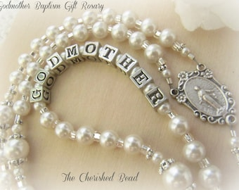 Catholic Godmother Personalized Pearl & Silver Rosary