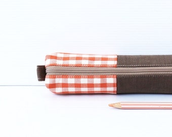 Retro Plaid Linen Pencil Case, Orange White, Roasted Brown, Zipper Cotton Pencil Case, Small Cosmetic Pouch