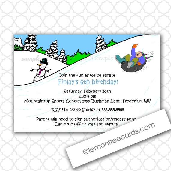 Items similar to Snow Tubing Birthday Party Invitations ...