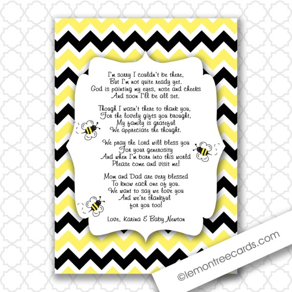 Items Similar To Bumble Bee Baby Shower Thank You Notes With Poem Customizable Printable Digital File Black Yellow Chevron On Etsy