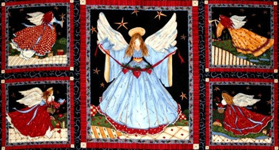 Items similar to panel christmas quilt fabric angels