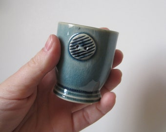 Handmade Stoneware Buttoned Shot Glass for the Seamstress' Delight