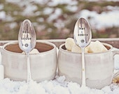 His and Hers Cocoa Spoons -Hand Stamped Vintage Spoon Set for Lovers