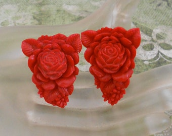 Red Rose Celluloid Dress Clips