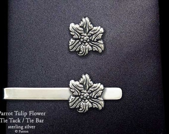 Parrot Tulip Flower Tie Tack or Parrot Tulip Flower Tie Bar / Tie Clip Sterling Silver