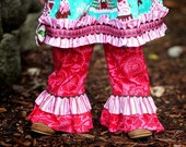 Girls Holiday Pink Ruffle Pants with Brown Ric Rac - Sizes 12MO - 8