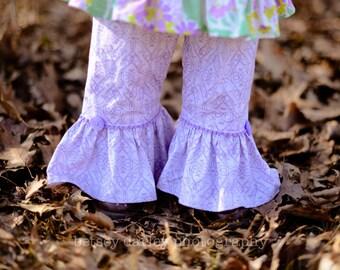 Girls Lavender Ruffle Pants with Purple Trim - Sizes 12MO - 8