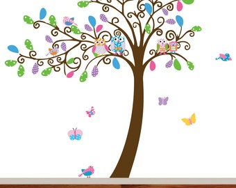 Nursery Swirl Tree with Owls Birds and Butterflies Vinyl Wall Tree Decal