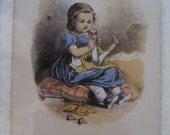 New Shoes framed original antique print of little girl with dolly