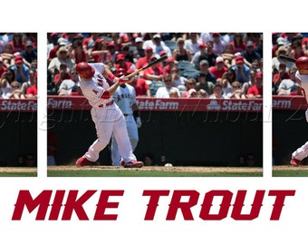 Mike Trout at Bat,  Angels Baseball, Baseball Photography, Anaheim Baseball, Los Angeles, Baseball Art, Athlete, American, Mike Trout