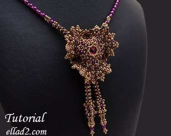 Tutorial Evening Glory Necklace - Beading Tutorial, Instant download, PDF file, Jewelry Tutorial