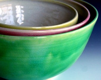 Ready to ship, Serving bowl set, nesting bowls, Made to order, nesting bowls by Leslie Freeman