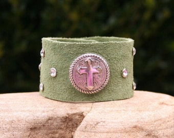 Olive Green Cuff Boho Cross Religious Christian Rustic Earthy Bracelet