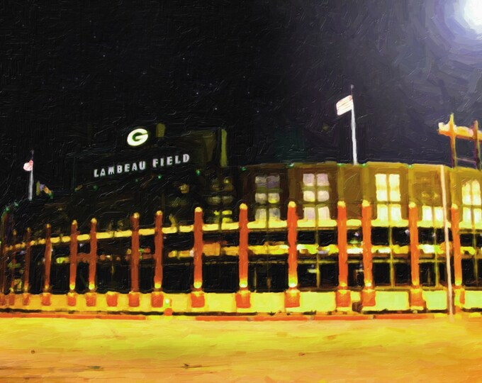 Lambeau Field Oil Style Painting Green Bay Packers Art Print on Wood Vince Lombardi NFL Gift Dad Christmas Gift Mancave Decor Wall Art 16x20