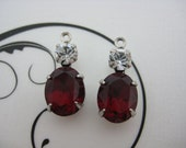 10x8 Swarovski Siam Red Oval and Crystal Clear 20ss Round Rhinestone in Silver Double One Ring Setting 1 Pair