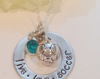 Hand Stamped personalized soccer necklace with birthstone