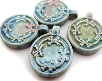 4 Raku Gecko Pendants, beads, large hole, ceramic, peruvian, hemp, animal - RAK213