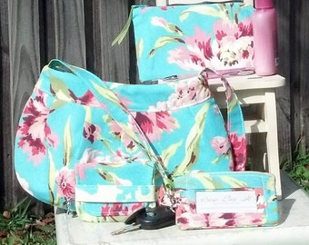 Buttercup Purse Featuring Amy Butler Bliss Bouquet Small Bag Aqua Floral, Free Shipping