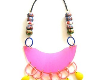 Don't Be Shy, Dare - Plastic Wood Beads Pink Yellow Handmade Statement Necklace