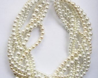 bridal White and ivory pearl necklaces custom order necklaces braided twisted chunky statement pearl necklace Bridesmaid