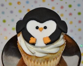 Penguin Fondant Cupcake, Cake or Cookie Toppers- Edible- 1 DOZEN