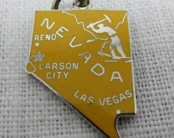 YELLOW NEVADA STATE Sterling Silver Charm or Pendant Enamel