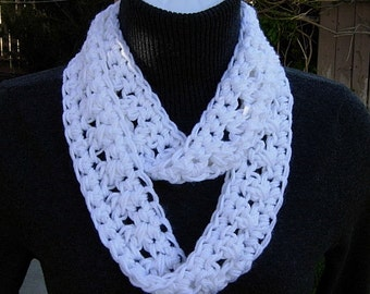 SUMMER SCARF Small Infinity Loop Solid White, Super Soft Lightweight Crochet Knit Endless Circle Neck Skinny Cowl..Ready to Ship in 2 Days