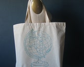 Screen Printed Recycled Cotton Tote Bag - Eco Friendly Grocery Tote - Canvas Tote Bag - Large Tote - Vintage Globe Book Bag - Handmade