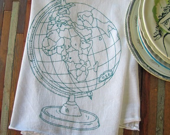 Tea Towel - Screen Printed Flour Sack Towel - Kitchen Towel - Dish Cloth - Handmade Eco Friendly Towel - Vintage Globe - Natural Cotton