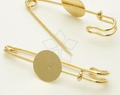 PN-004-GD / 4 Pcs - Brooch Pin Backs Findings with Round Pad, 16K Gold Plated over Brass / 56mm
