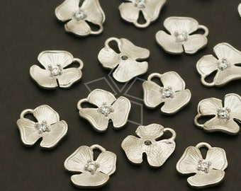 PD-662-MS / 4 Pcs - NEW Tiny Floweret Charms, Matte Silver Plated over Brass / 7mm x 8mm