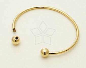 BR-008-GD / 1 Pcs - Cuff Bangle Bracelet for Metal Beads 10 gauge, Ball end screws off, 16K Gold Plated over Brass / 2.57mm