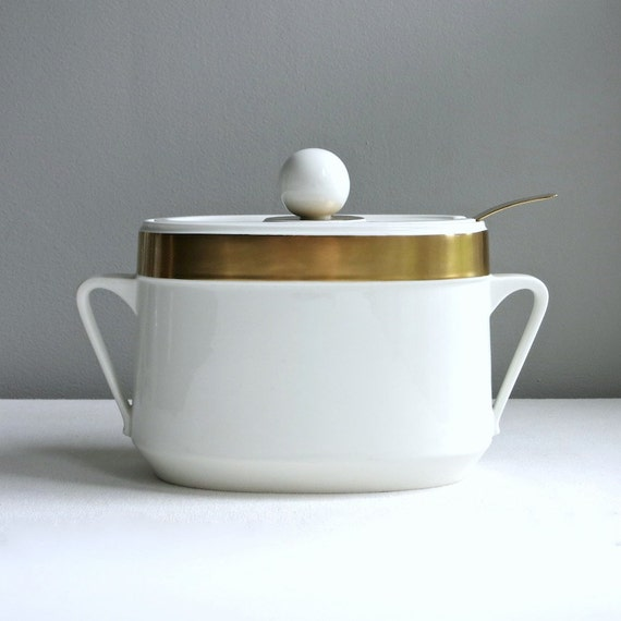Vintage Ernest Sohn Covered Soup Tureen Serving Dish - White Ceramic with Gold Band Entertaining