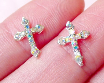 Tiny Cross Cabochon (2pcs) (Silver w/ AB Clear Rhinestones) Fake Miniature Cupcake Topper Earrings Making Nail Art Nail Decoration NAC187