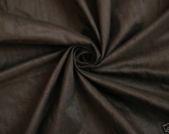 "Chocolate Brown 100% Dupioni Silk Fabric Wholesale Roll/ Bolt 55"" wide"