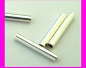 1.5mm x 10mm solid sterling silver liquid plain straight tube spacer S109