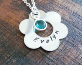 Hand Stamped Name Necklace, Flower Girl necklace, Personalized Necklace, Family Necklace, Birthstone and Initial Mother Necklace