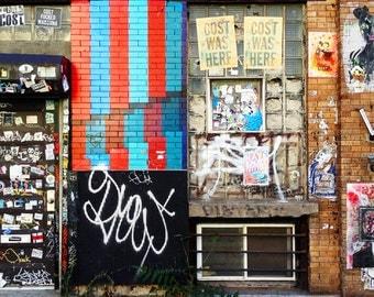 City Wall Photograph Print, 13x19 8x11 street art Graffiti Photography, Urban Home Decor Print