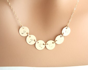 SIX  Initial  discs gold Filled Necklace, Customize Monogram Necklace, Family Jewelry, Sister Best friends, Mothers daughter,grandma gift,