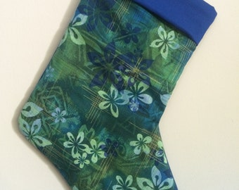 Hawaiian floral Christmas Stocking can be personalized