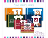 Set of printed Jersey Onesie/ Ticket Custom Invitations with envelopes- any team color